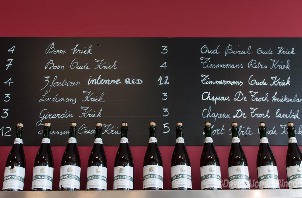 Un listado con algunas de las marcas de Lambic del Brabante Flamenco.  ©David Alonso RIncón